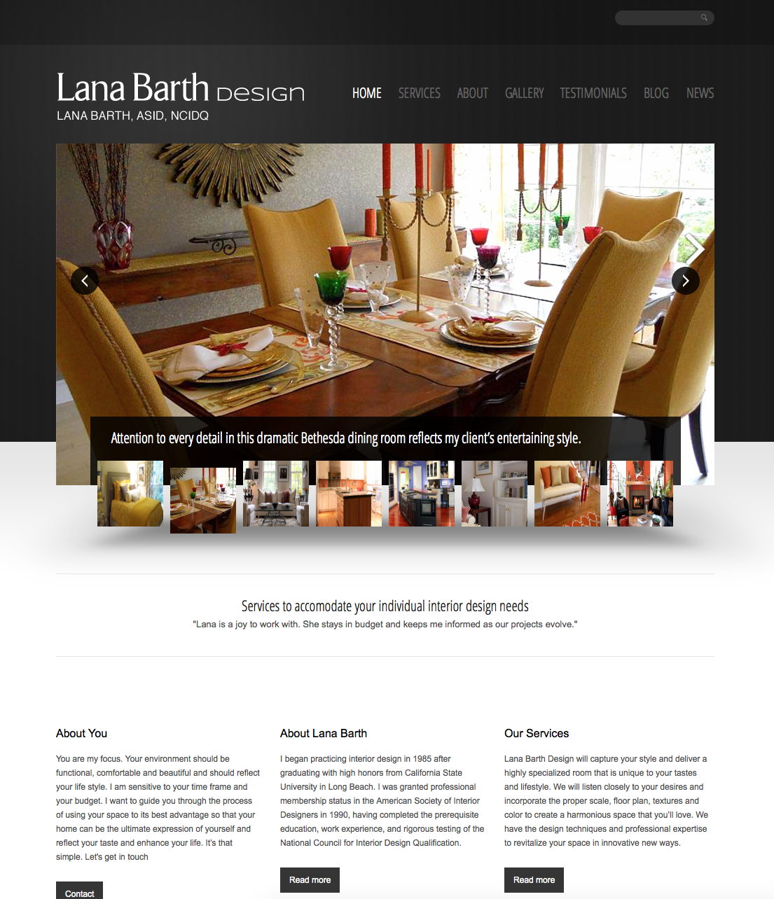 Lana Barth Design Website